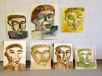 Wet-on-wet watercolour interpretations of Melancholia by Karl Schmidt-Rottluff.